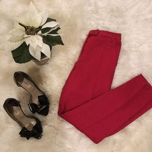 Topshop Red Jacquard Slim Trousers. NWOT.
